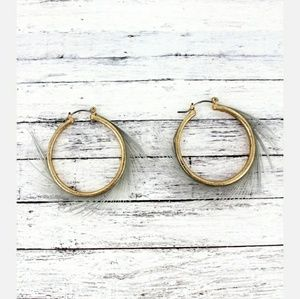 Gold Hoop & Gray Feather Earrings
